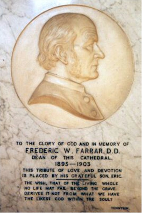 Commemorative stone for Frederic Farrar