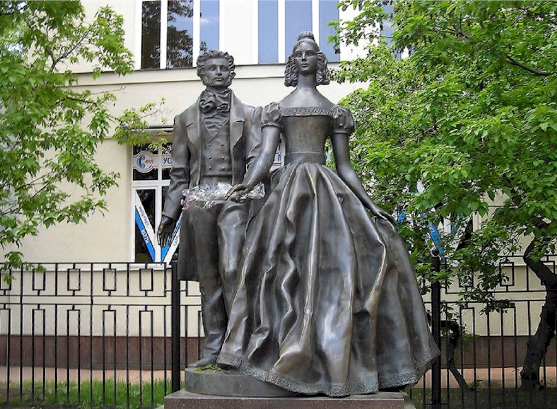 Statue of  Alexander Pushkin and Natalya on the Arbat in Moscow
